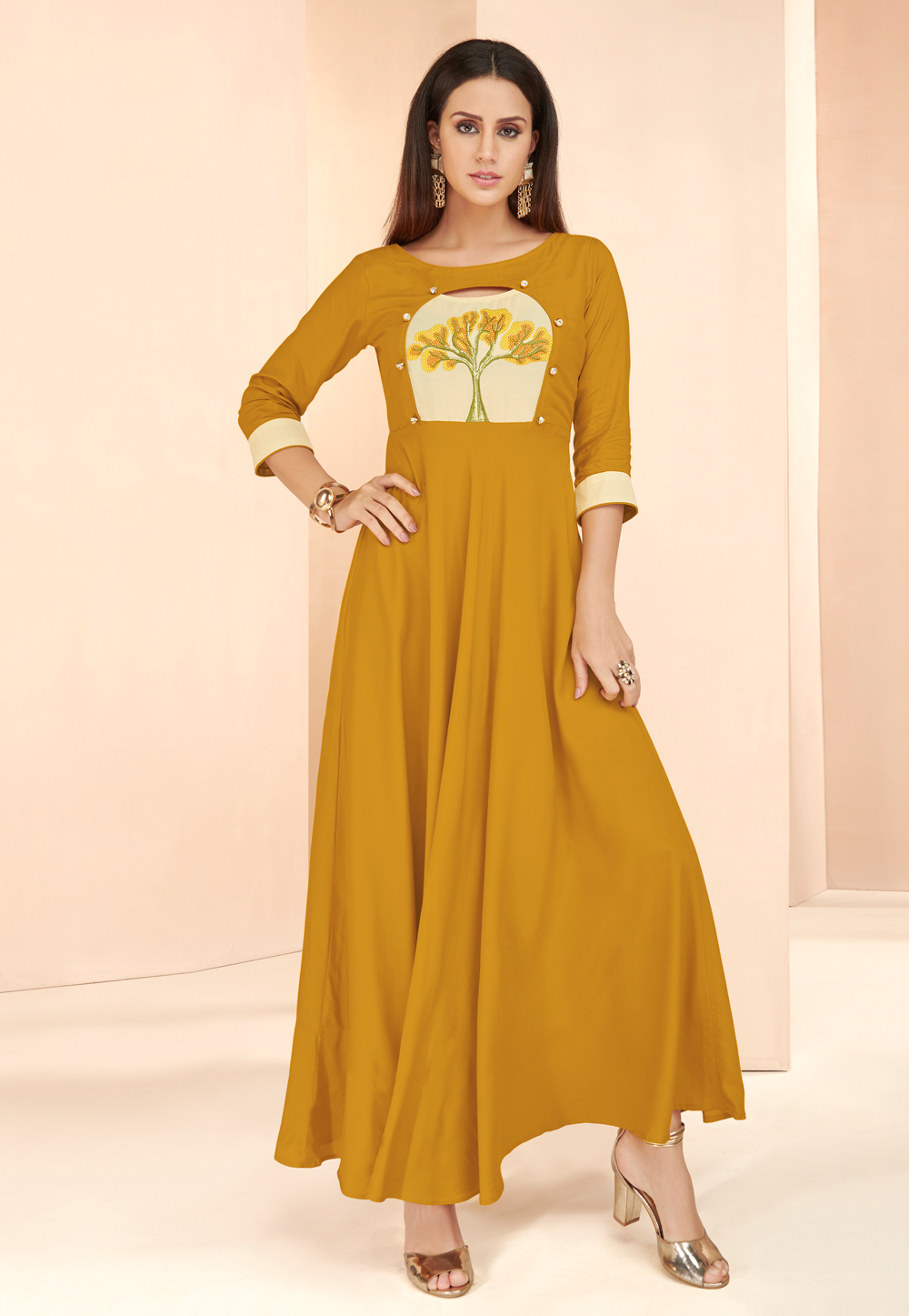 Mustard Rayon Readymade Gown 177665