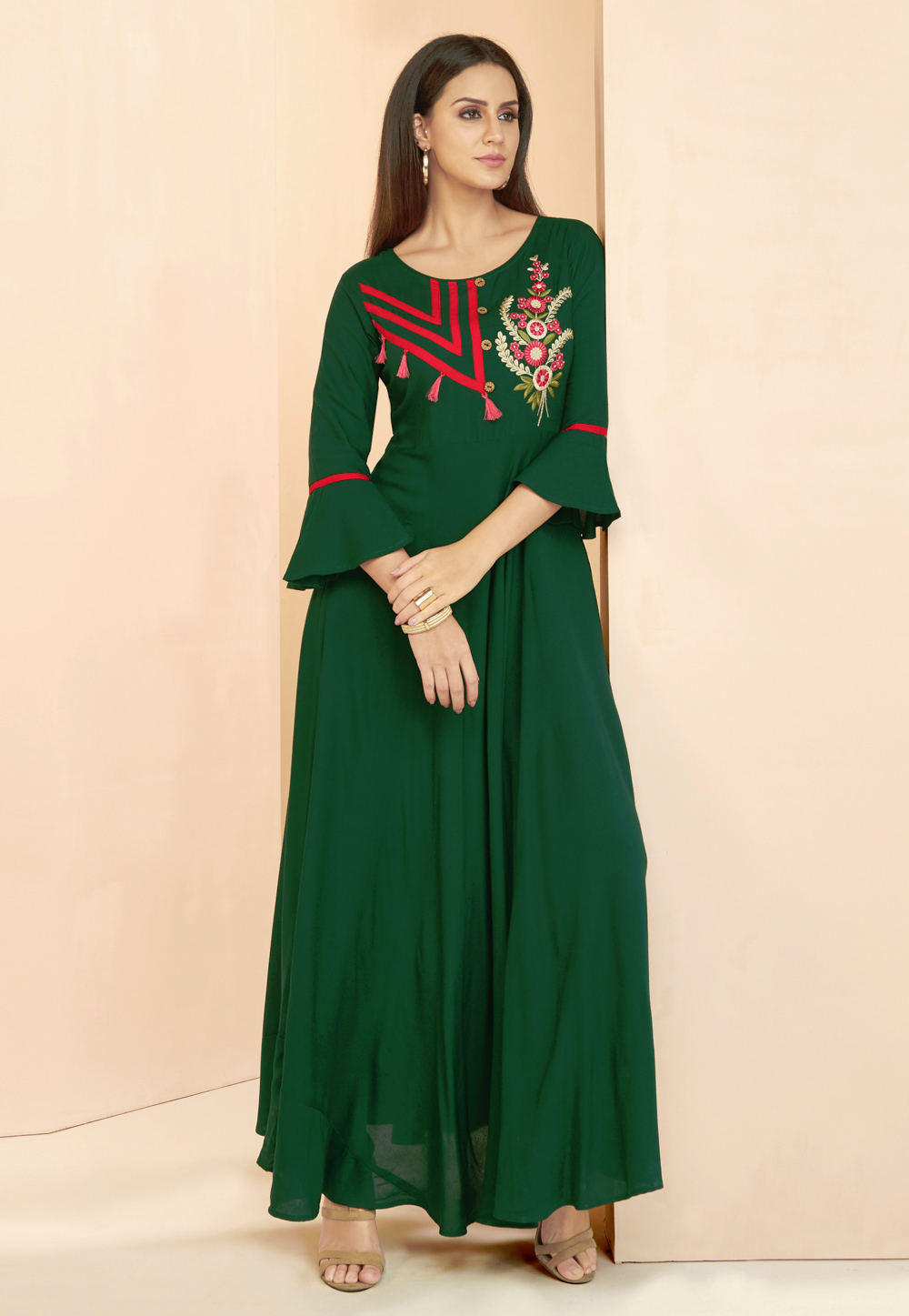 Green Rayon Readymade Gown With Frill Sleeve 177667