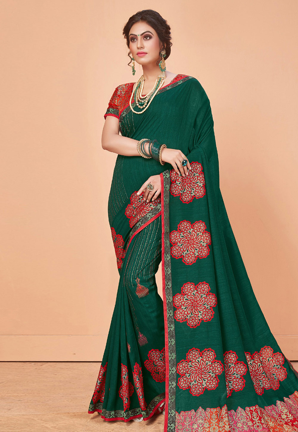 Green Brasso Festival Wear Saree 166858