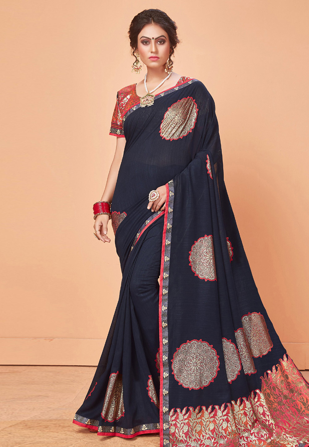 Navy Blue Brasso Saree With Blouse 166863