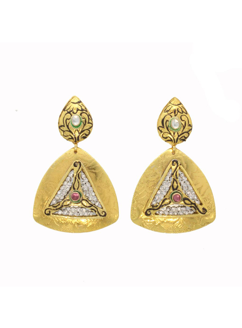Maroon and Green Copper & Stone Decked Earring 26701
