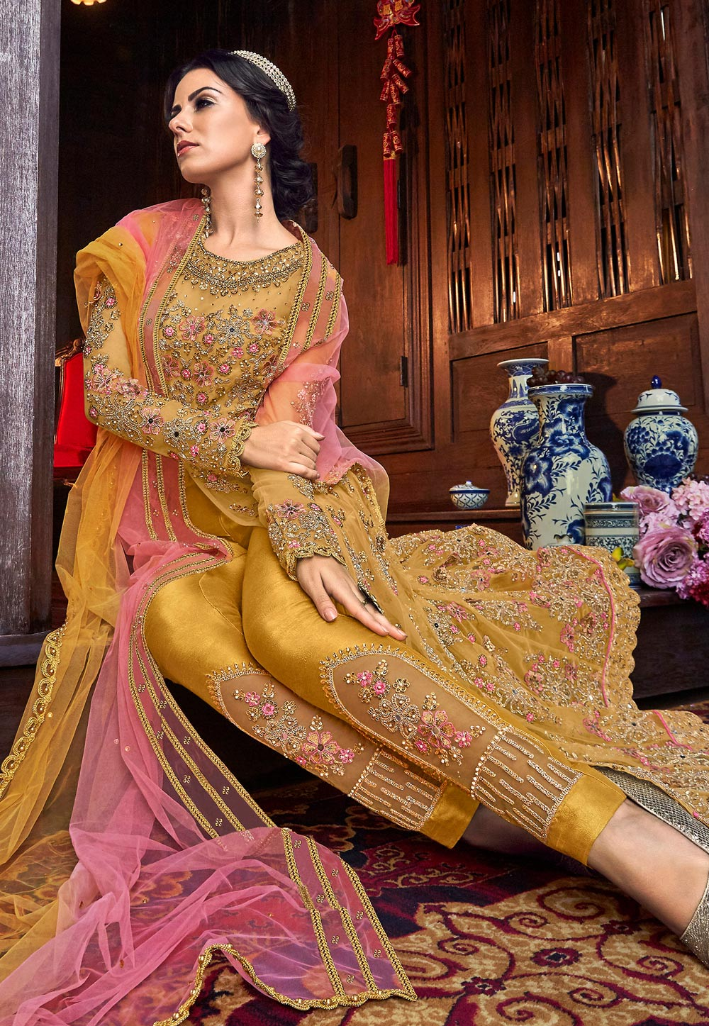 Yellow Net Pant Style Suit 184618