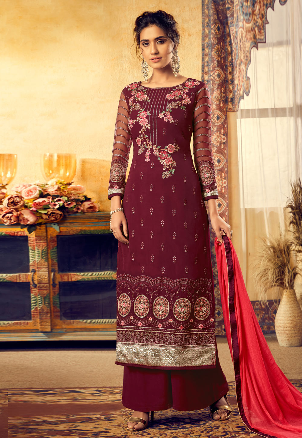 Maroon Viscose Embroidered Palazzo Suit 189726