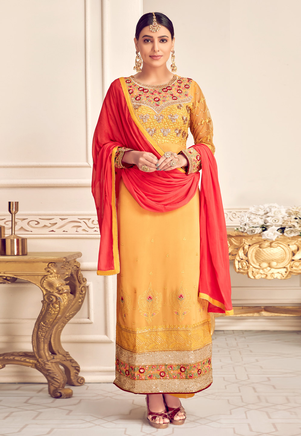 Yellow Viscose Georgette Kameez With Palazzo 210364