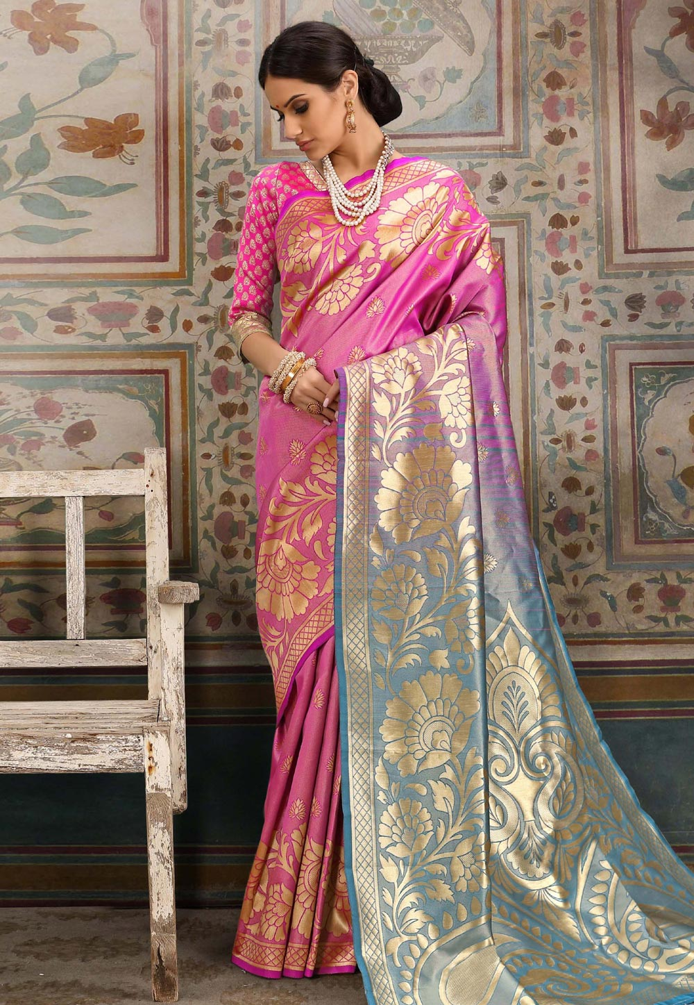 Pink Kanjivaram Silk Saree With Blouse 168353