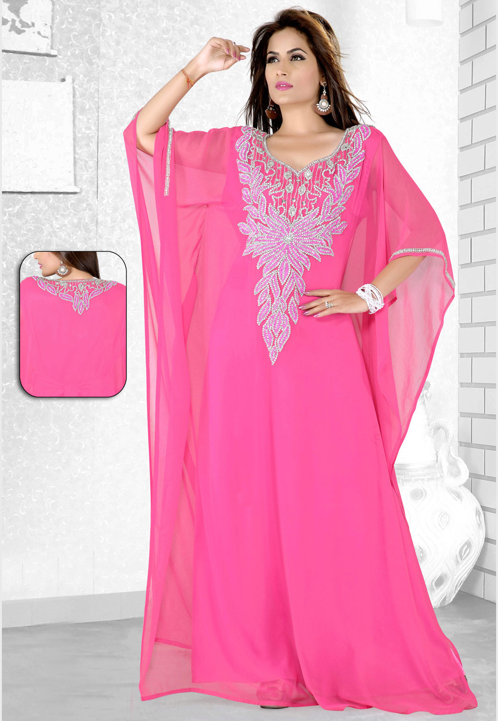 Pink Faux Georgette Embroidered Readymade Farasha 194064