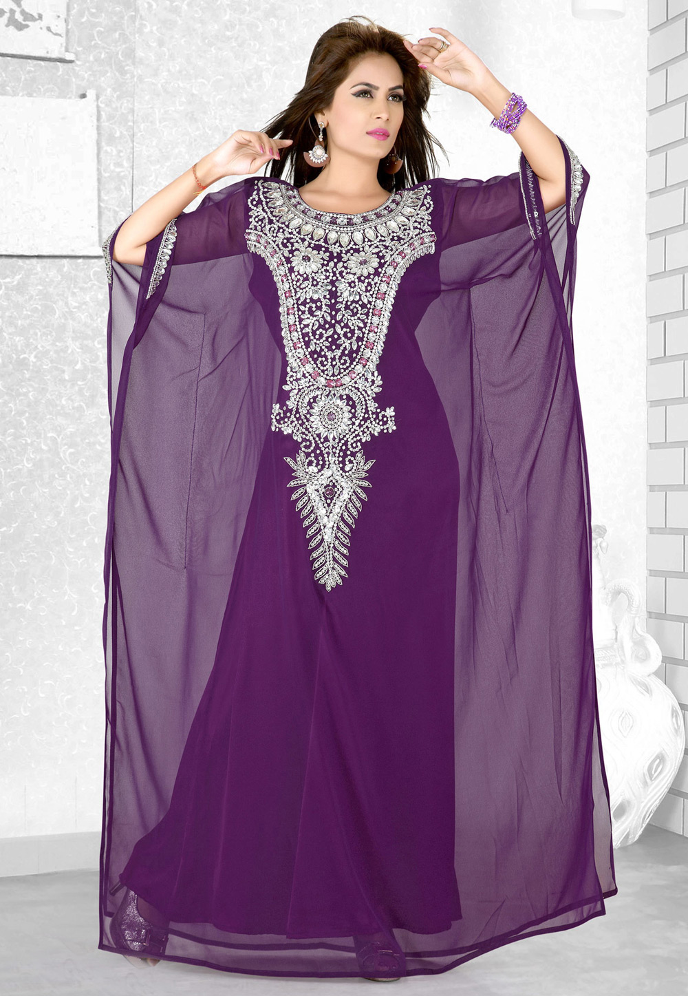 Purple Faux Georgette Embroidered Readymade Farasha 194065