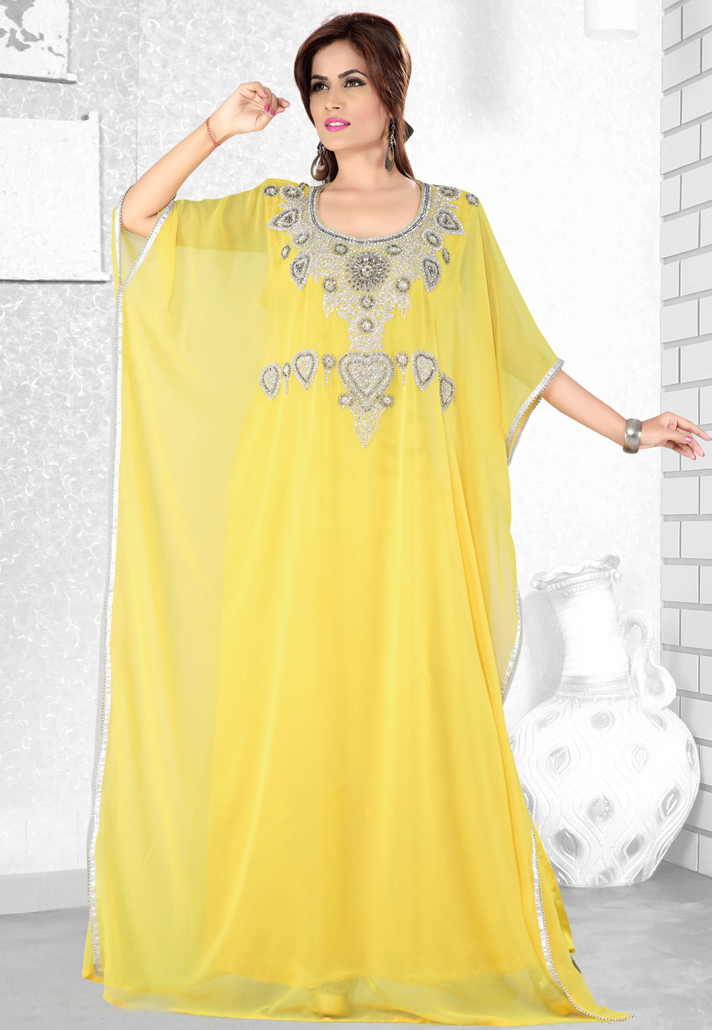 Yellow Faux Georgette Embroidered Readymade Farasha 194067