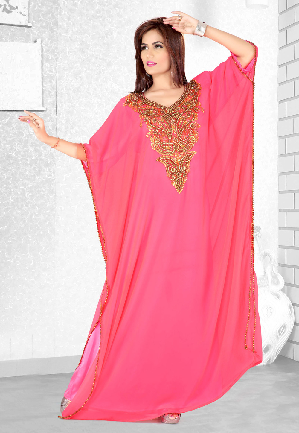 Pink Faux Georgette Embroidered Readymade Farasha 194069