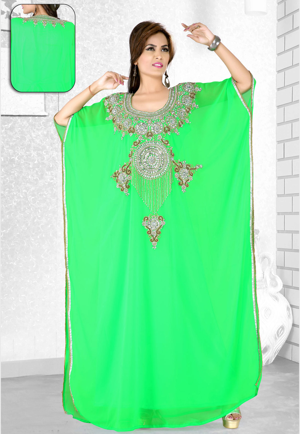 Light Green Faux Georgette Embroidered Readymade Farasha 194070