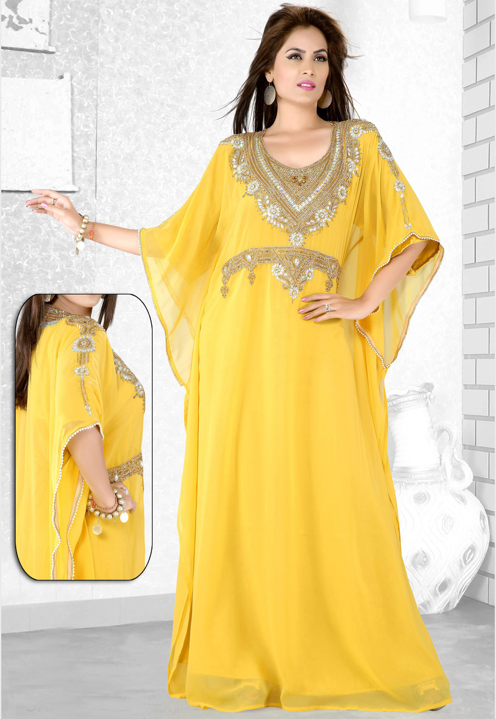 Yellow Faux Georgette Embroidered Readymade Farasha 194072