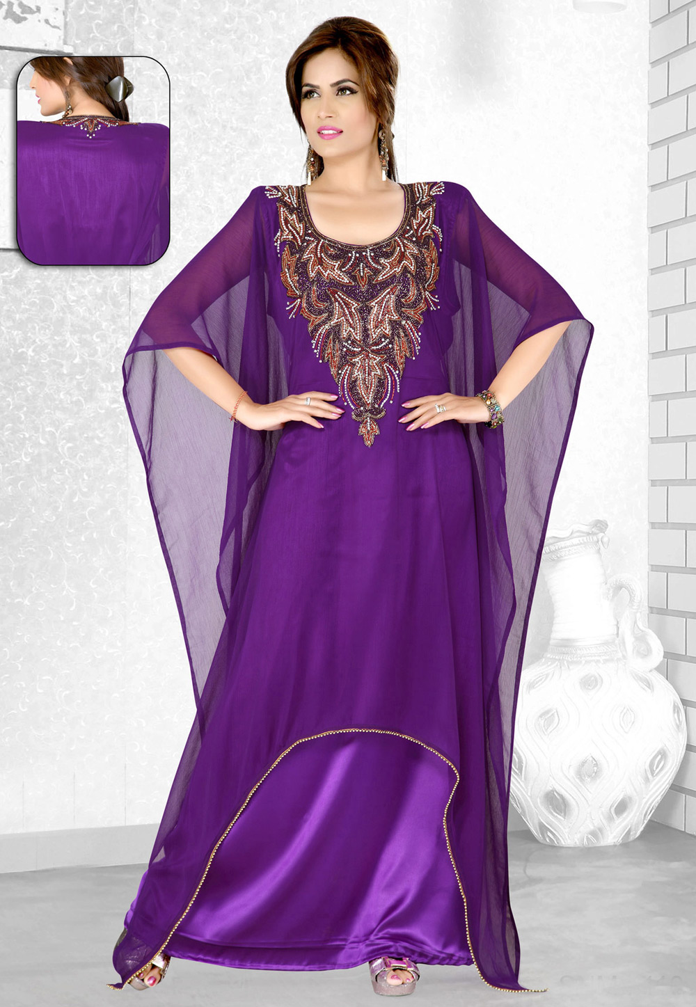 Violet Faux Georgette Embroidered Readymade Farasha 194073