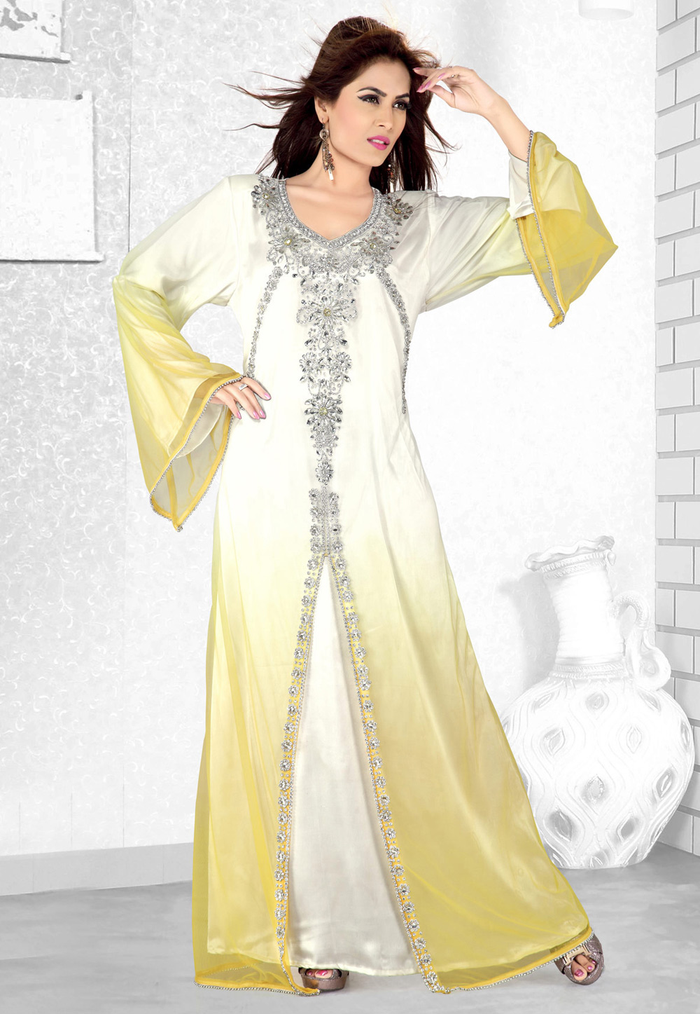 Yellow Faux Georgette Embroidered Readymade Kaftan 194074