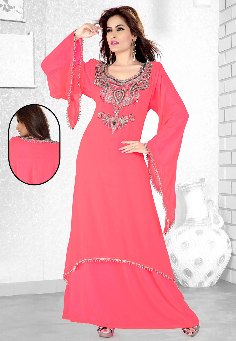 Pink Faux Georgette Embroidered Readymade Kaftan 194076