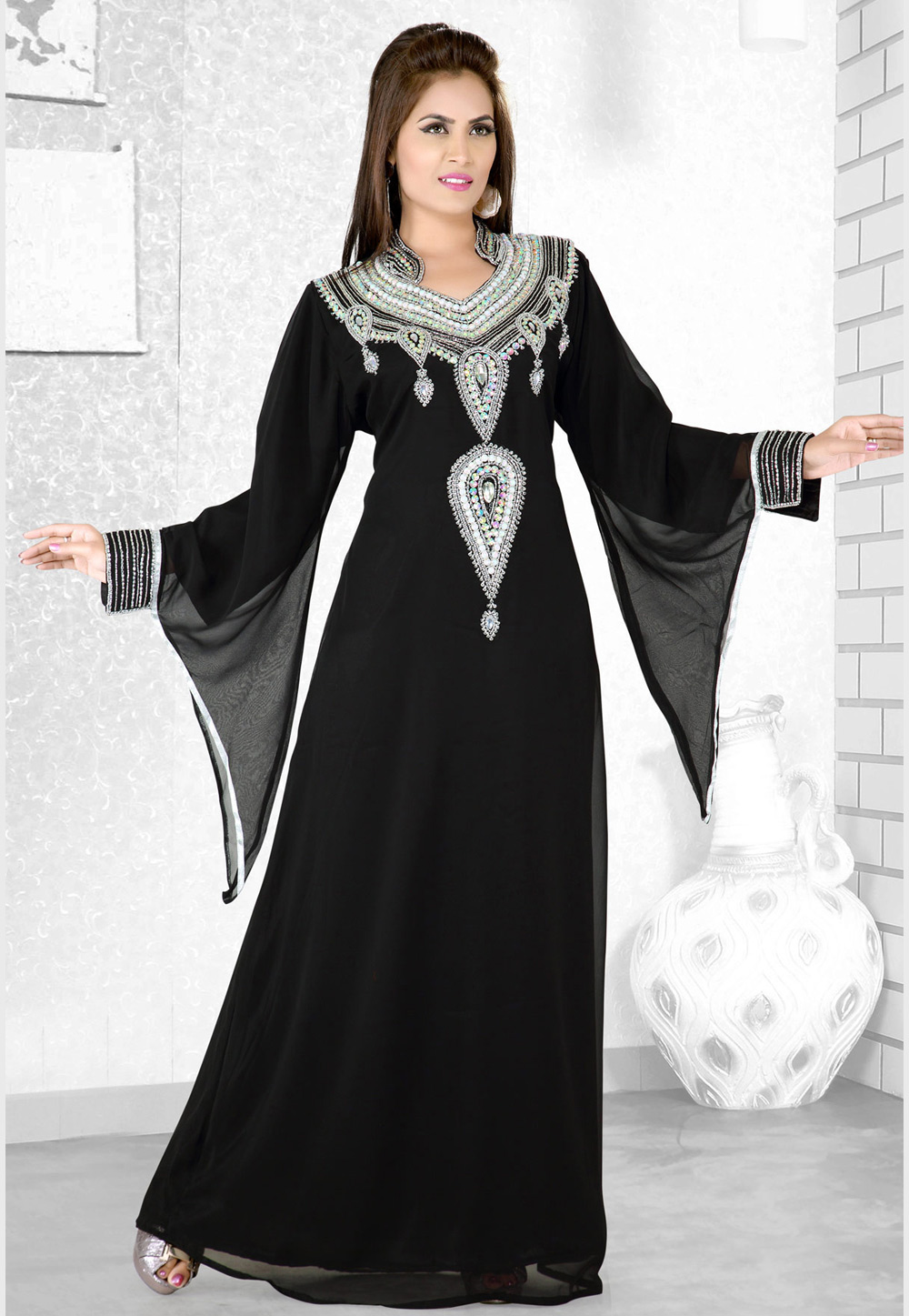 Black Faux Georgette Embroidered Readymade Kaftan 194078