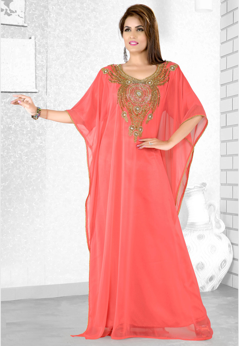 Pink Faux Georgette Embroidered Readymade Farasha 194079