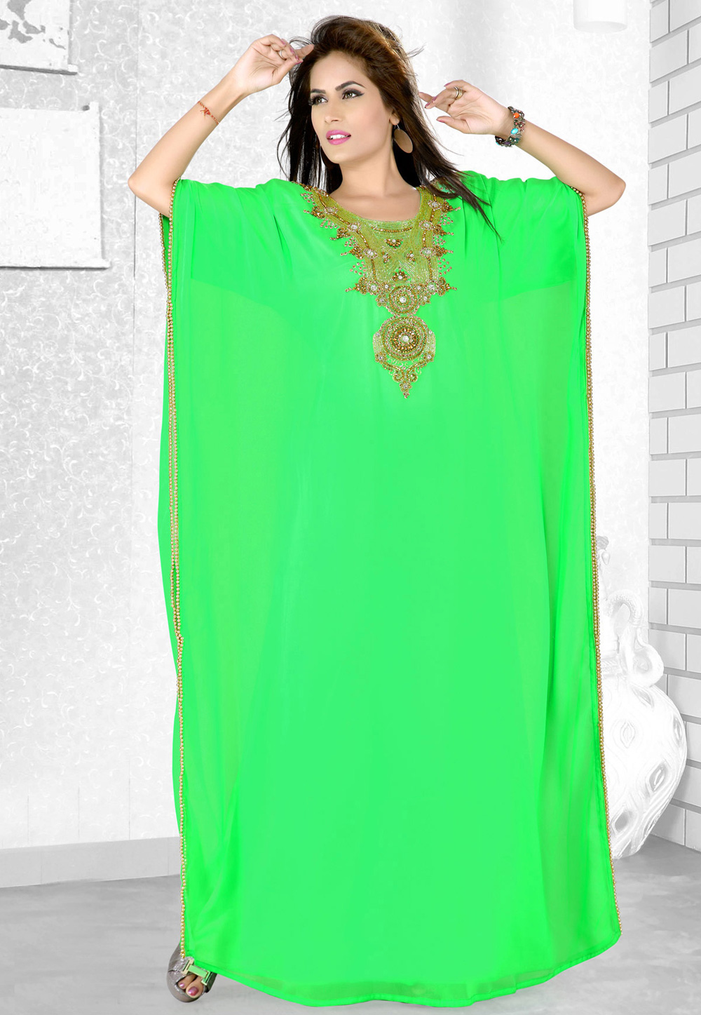 Light Green Faux Georgette Embroidered Readymade Farasha 194080