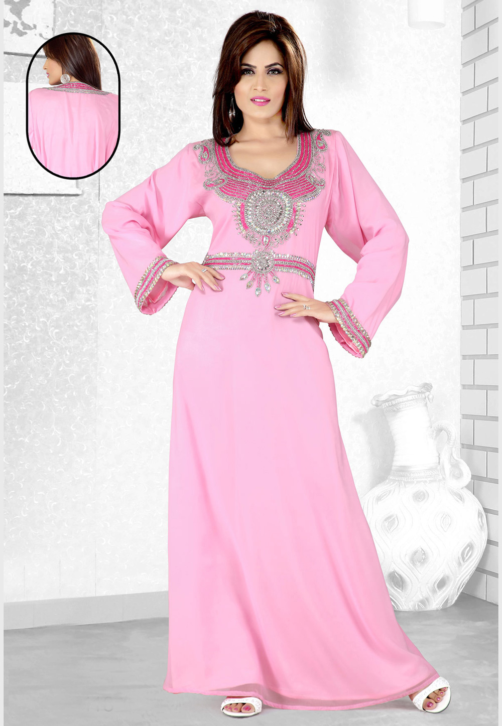 Light Pink Faux Georgette Embroidered Readymade Kaftan 194081