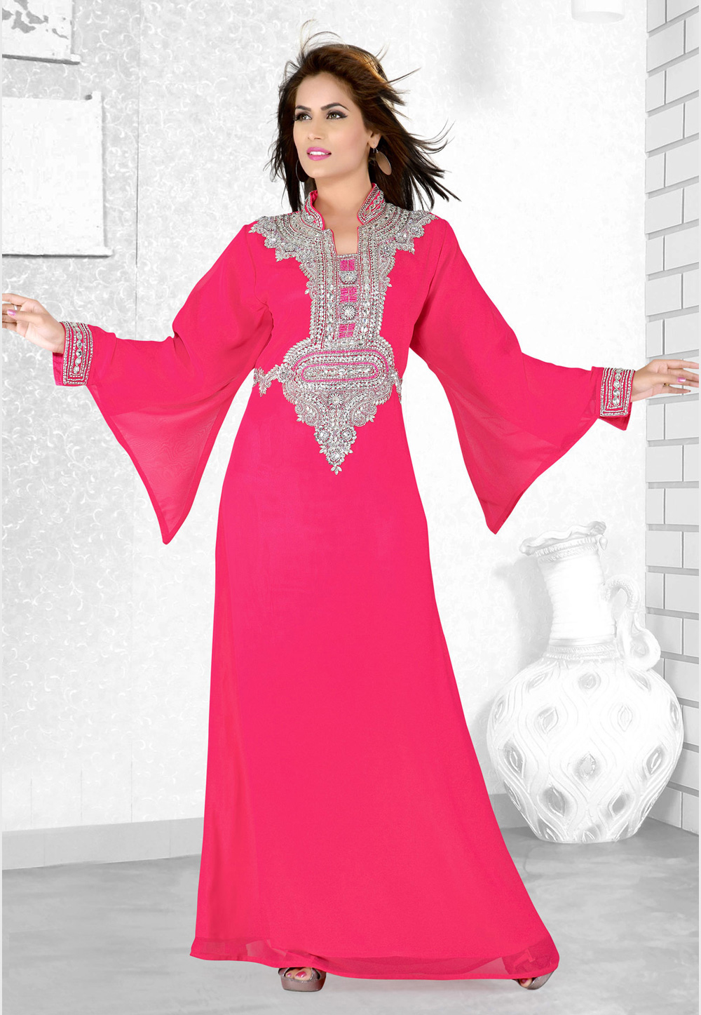 Pink Faux Georgette Embroidered Readymade Kaftan 194082