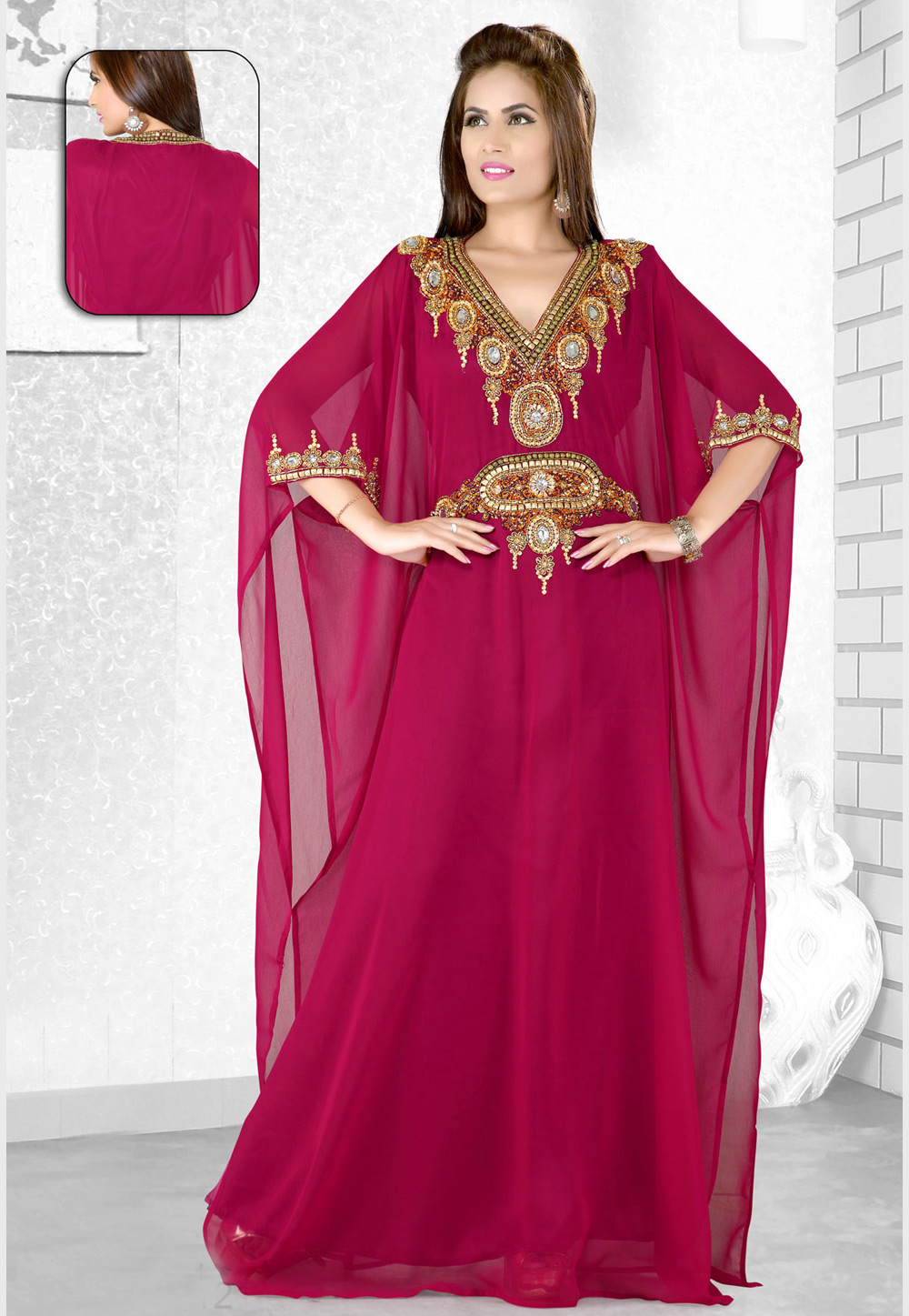 Magenta Faux Georgette Embroidered Readymade Farasha 194084
