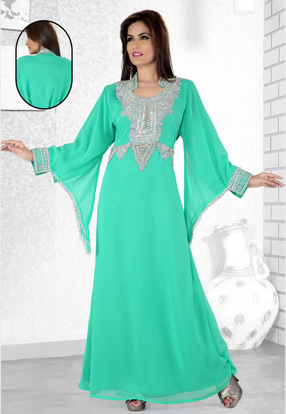 Turquoise Faux Georgette Embroidered Readymade Kaftan 194085