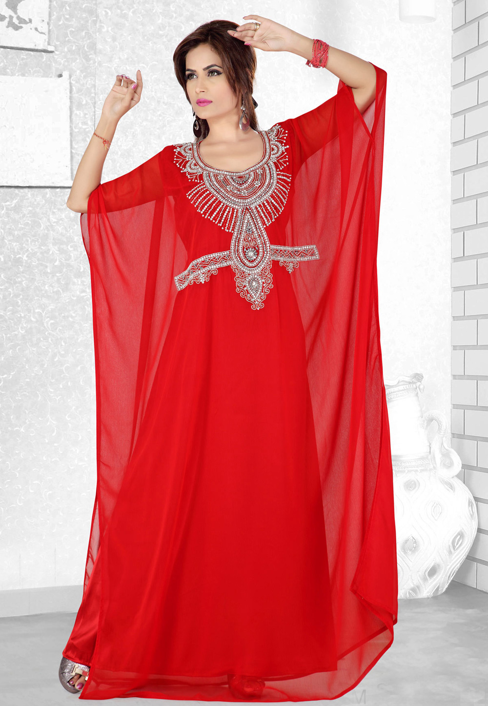 Red Faux Georgette Embroidered Readymade Farasha 194086