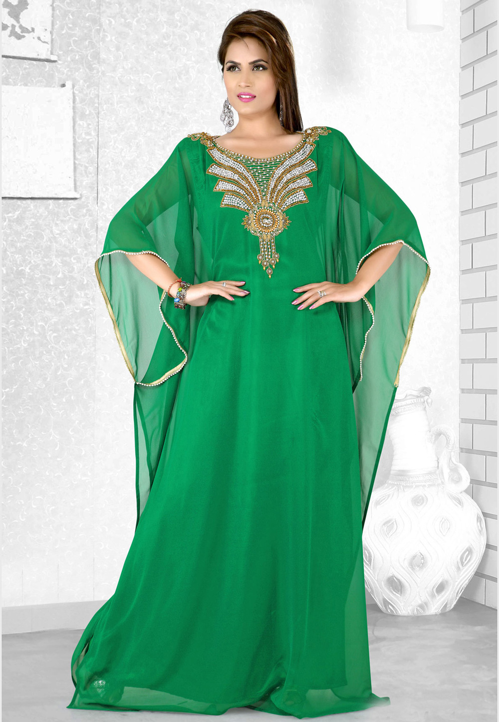 Green Faux Georgette Embroidered Readymade Farasha 194087