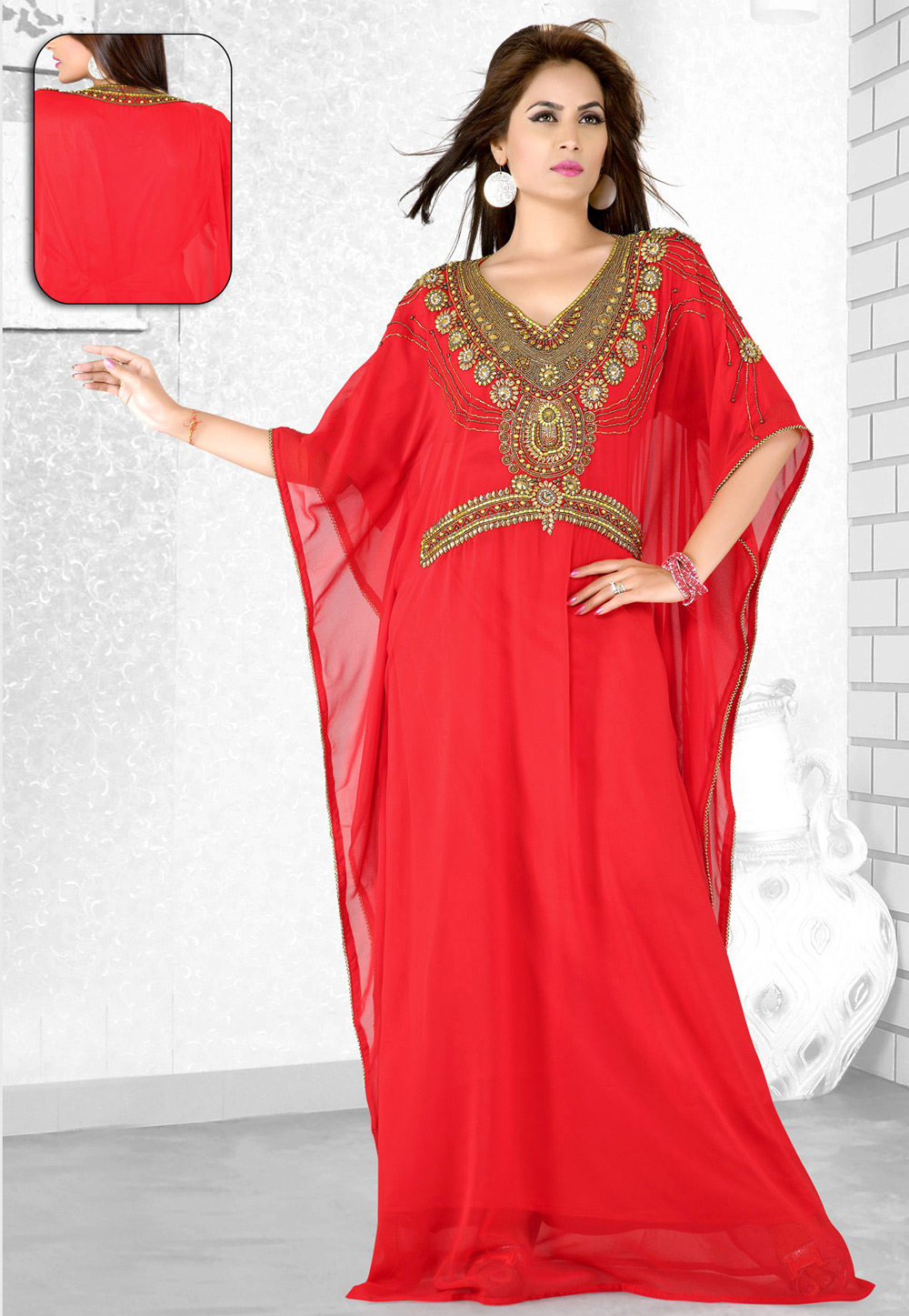 Red Faux Georgette Embroidered Readymade Farasha 194089