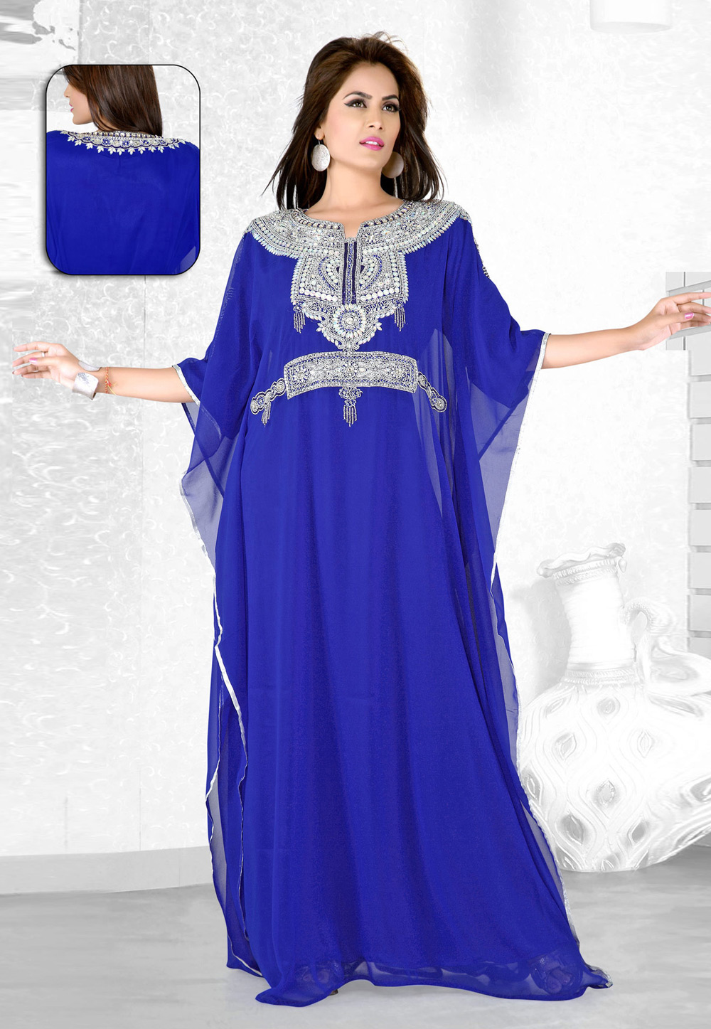 Blue Faux Georgette Embroidered Readymade Farasha 194090