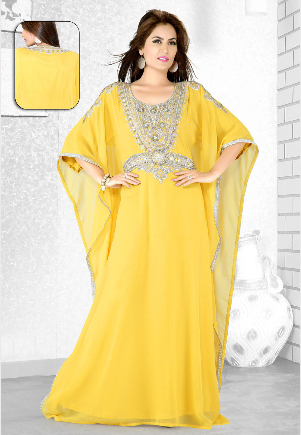 Yellow Faux Georgette Embroidered Readymade Farasha 194095