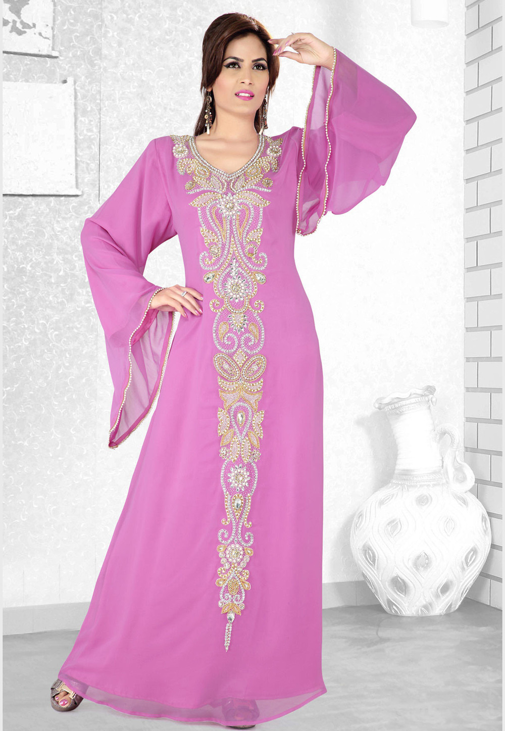 Pink Faux Georgette Embroidered Readymade Kaftan 194103