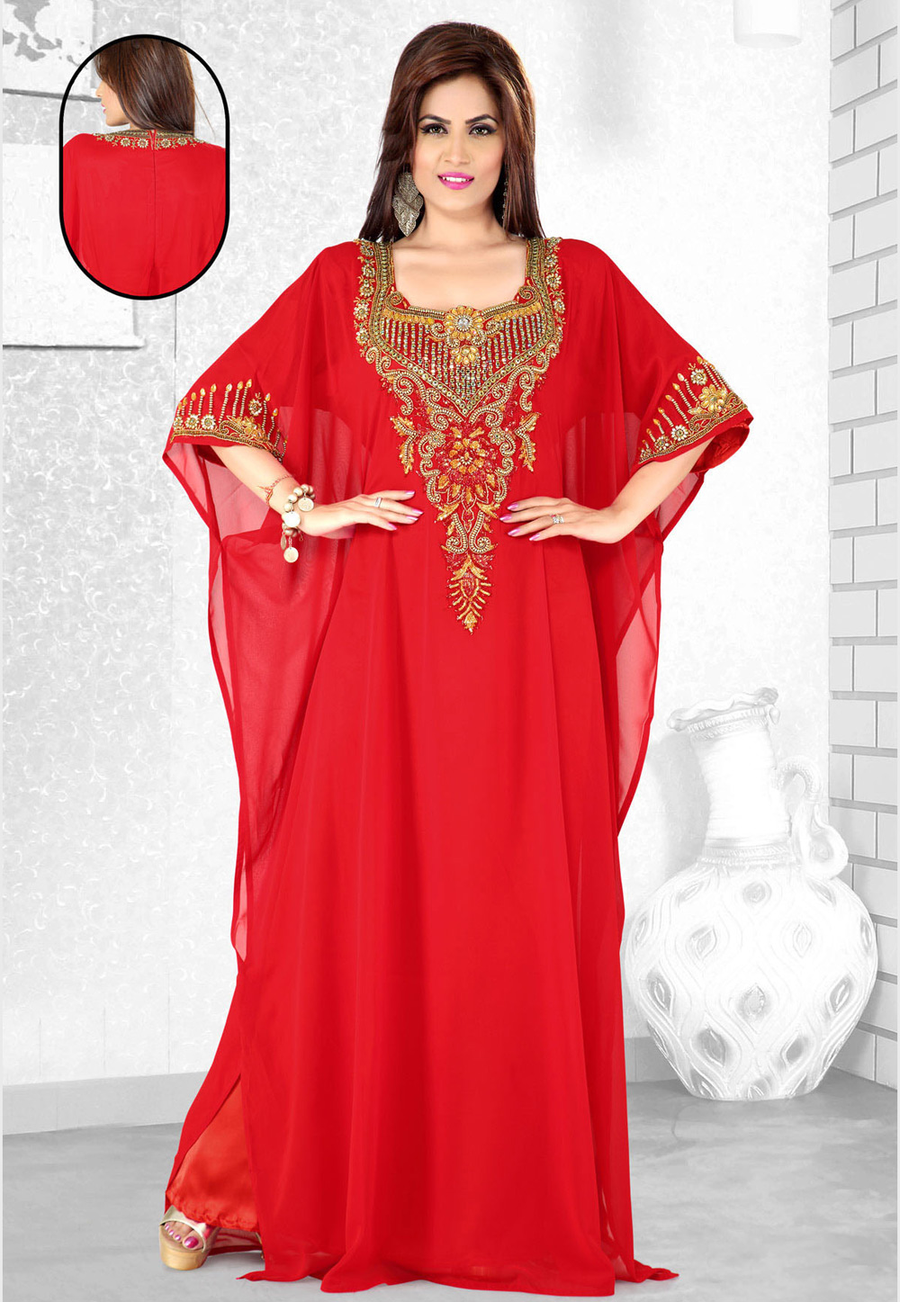 Red Faux Georgette Embroidered Readymade Farasha 194104