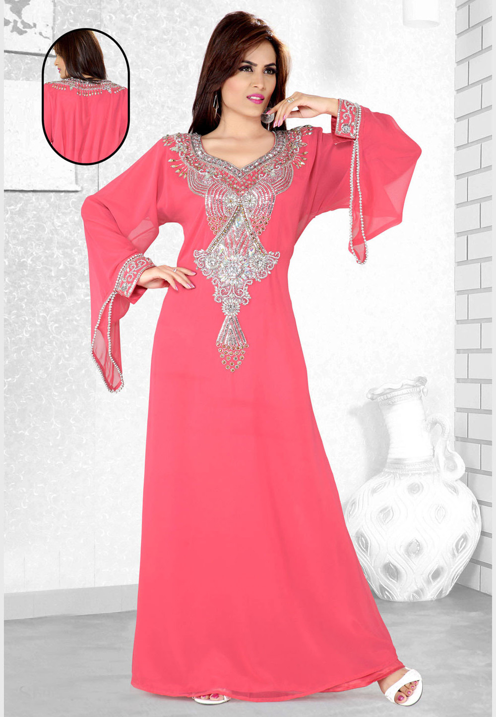 Pink Faux Georgette Embroidered Readymade Kaftan 194106