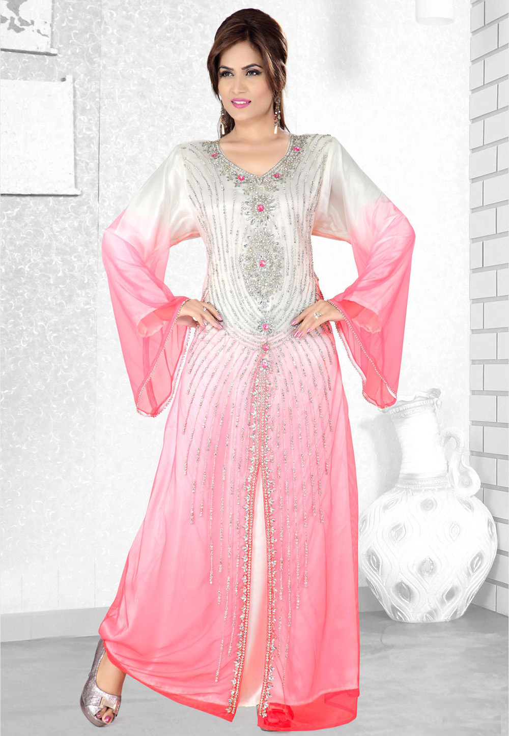 Pink Faux Georgette Embroidered Readymade Kaftan 194107