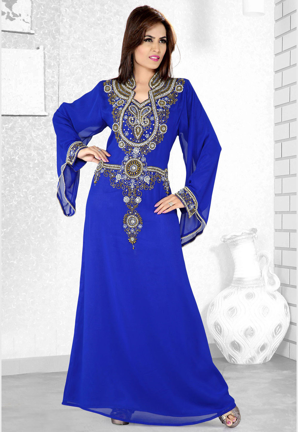 Blue Faux Georgette Embroidered Readymade Kaftan 194108