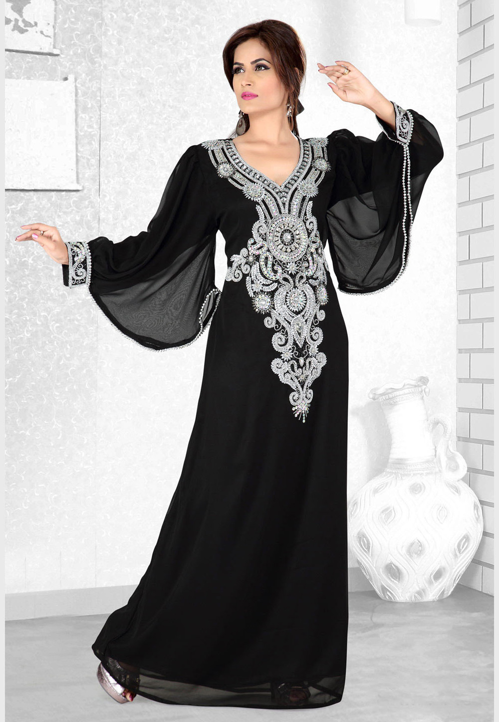 Black Faux Georgette Embroidered Readymade Kaftan 194109