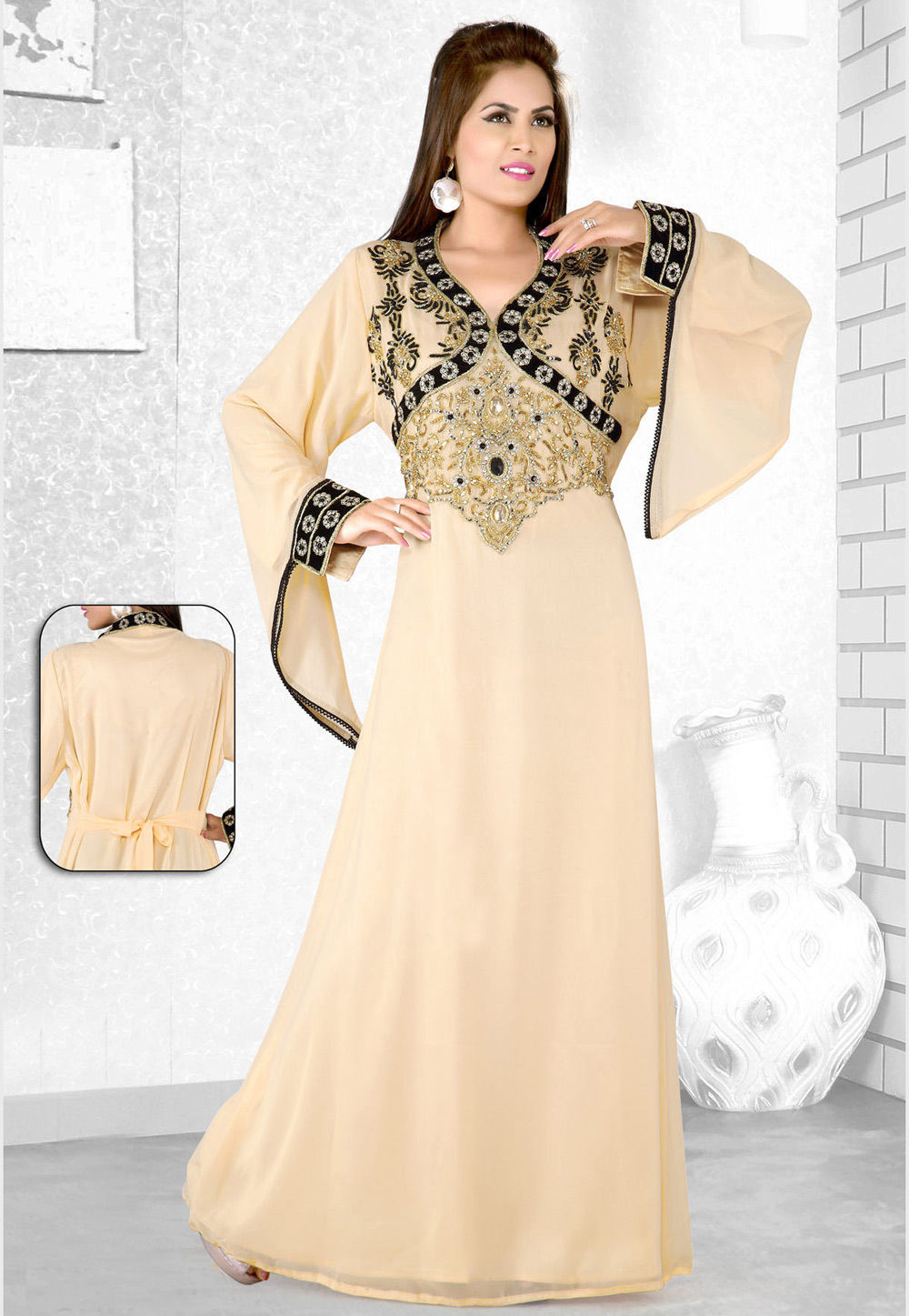 Beige Faux Georgette Embroidered Readymade Kaftan 194110