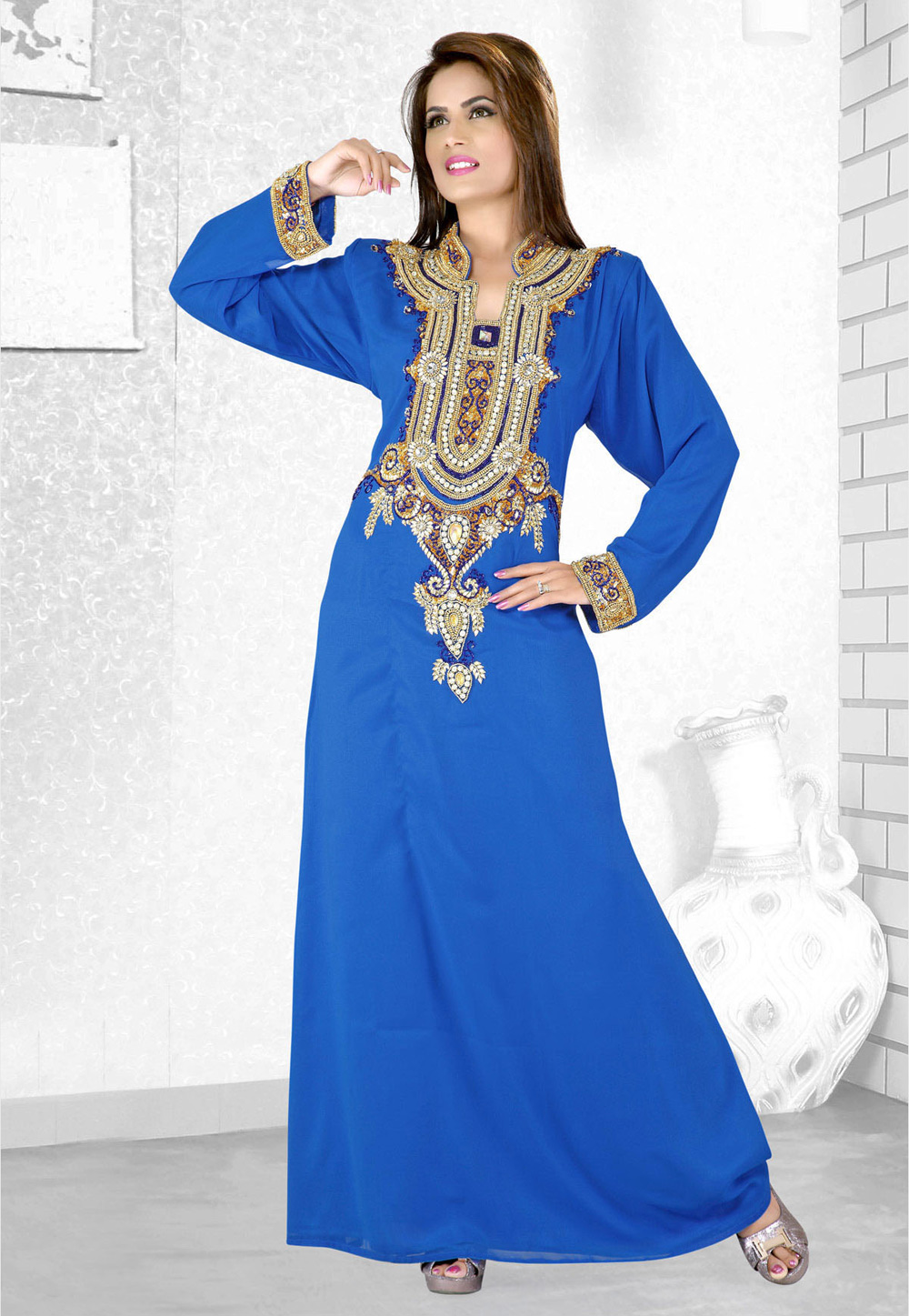 Blue Faux Georgette Embroidered Readymade Kaftan 194112