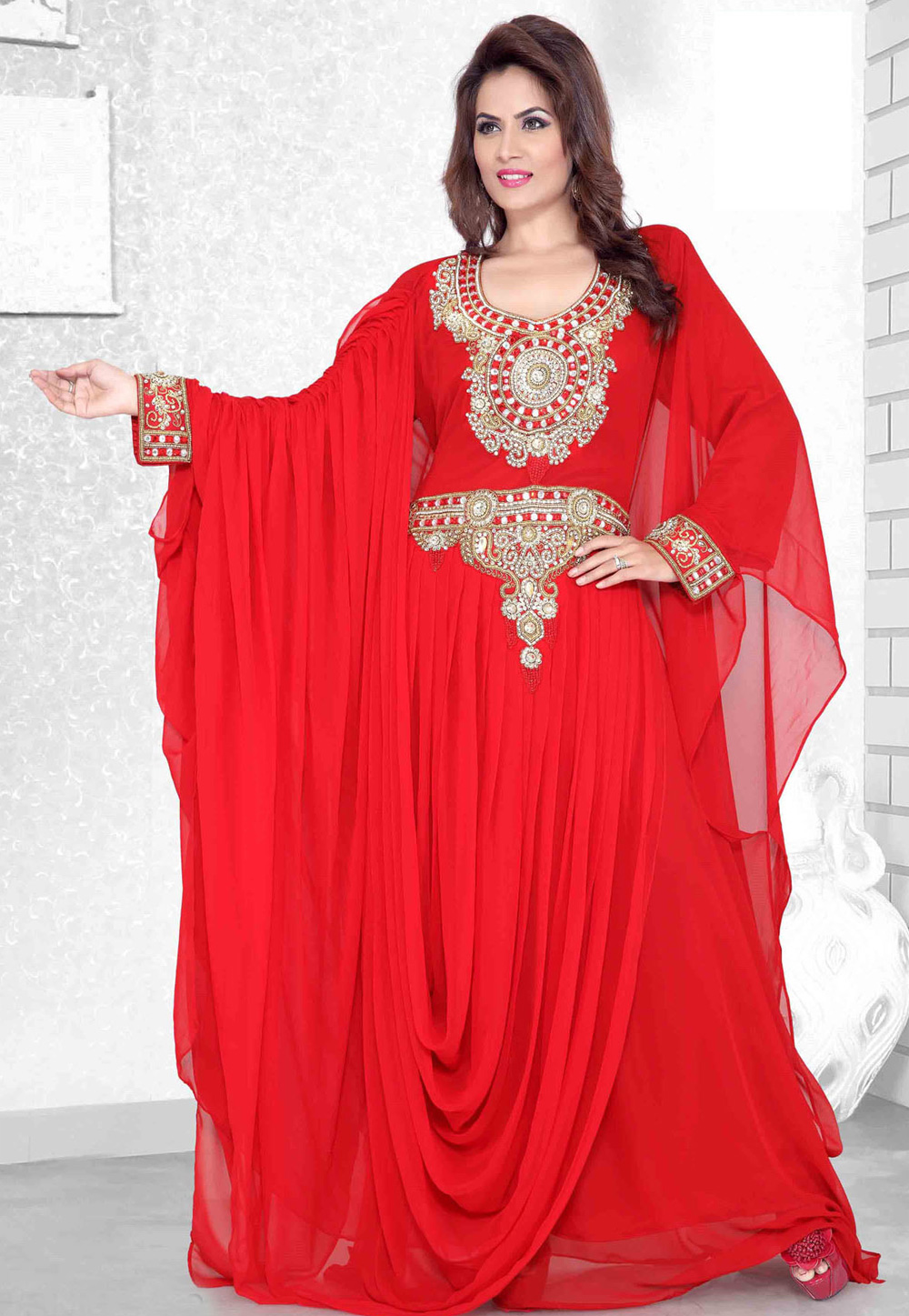 Red Faux Georgette Embroidered Readymade Farasha 194115