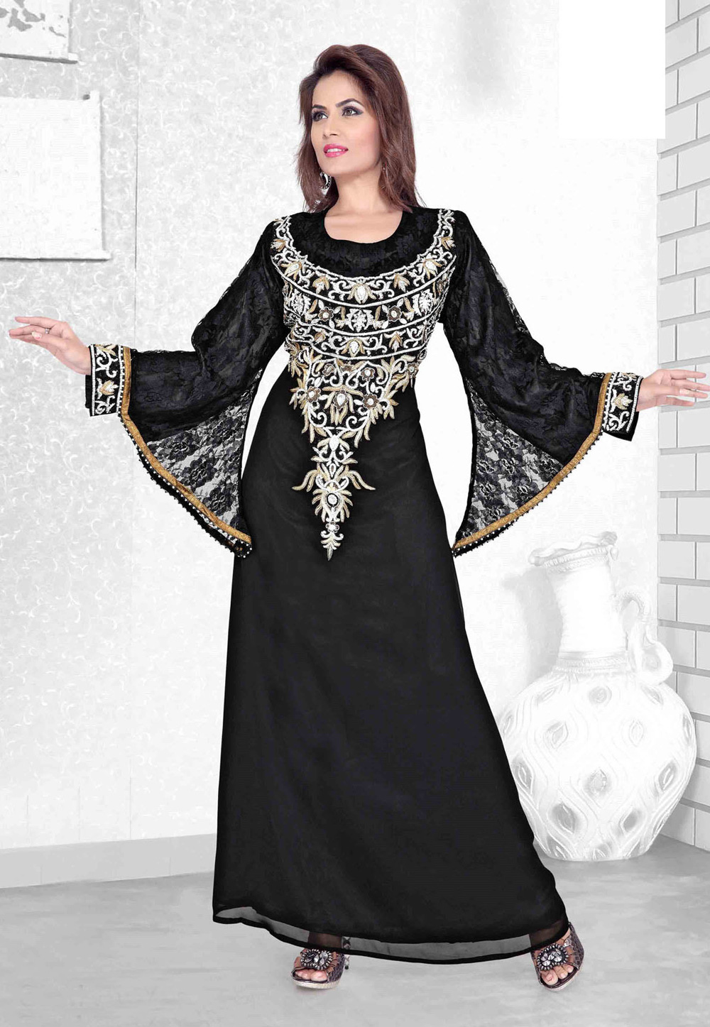 Black Faux Georgette Embroidered Readymade Kaftan 194120