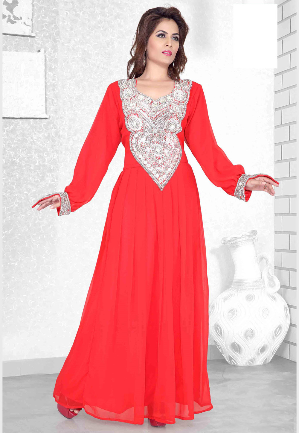 Red Faux Georgette Embroidered Readymade Kaftan 194121