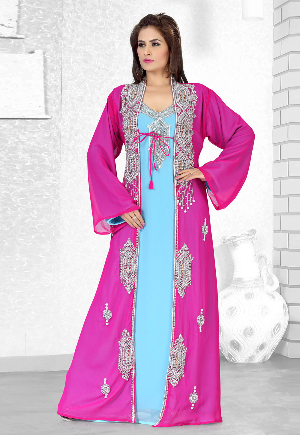Pink Faux Georgette Embroidered Readymade Kaftan 194499