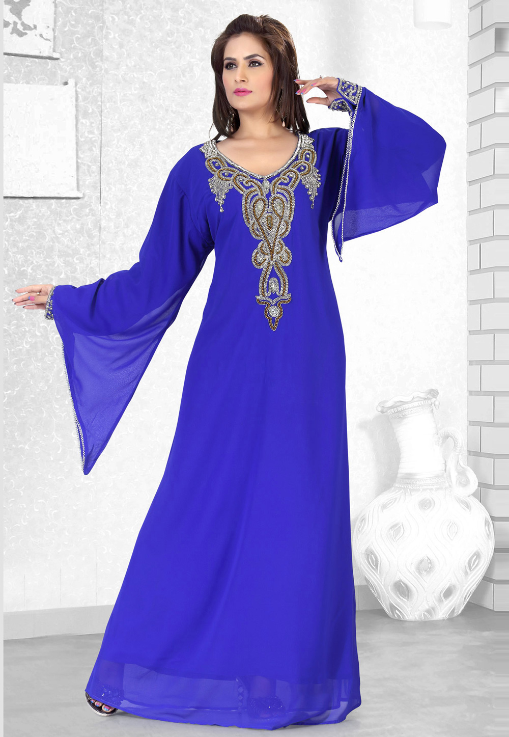 Blue Faux Georgette Embroidered Readymade Kaftan 194500