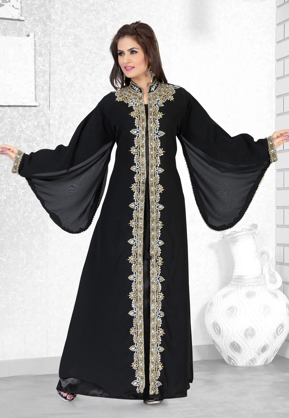 Black Faux Georgette Embroidered Readymade Kaftan 194501
