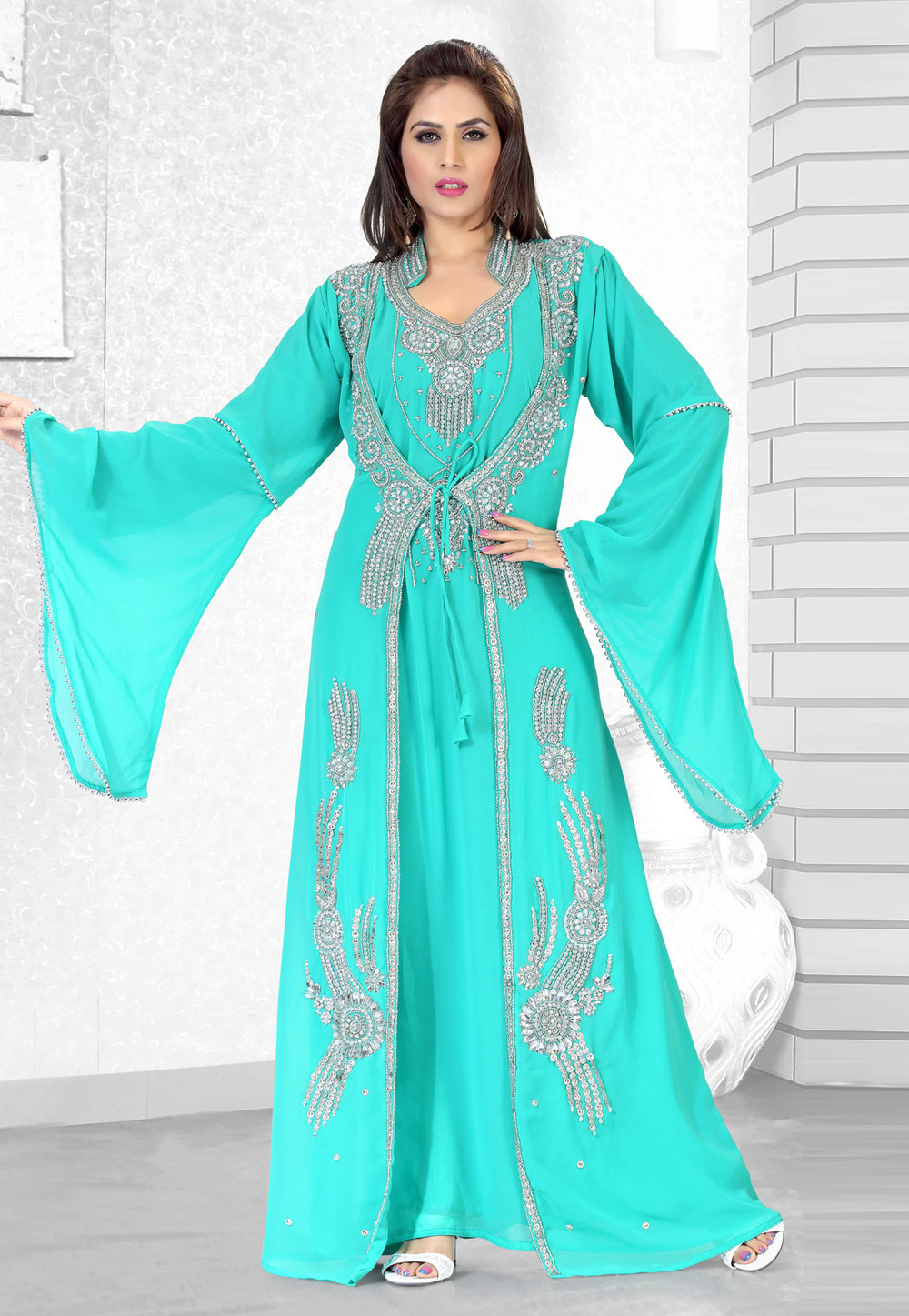 Turquoise Faux Georgette Embroidered Readymade Kaftan 194502