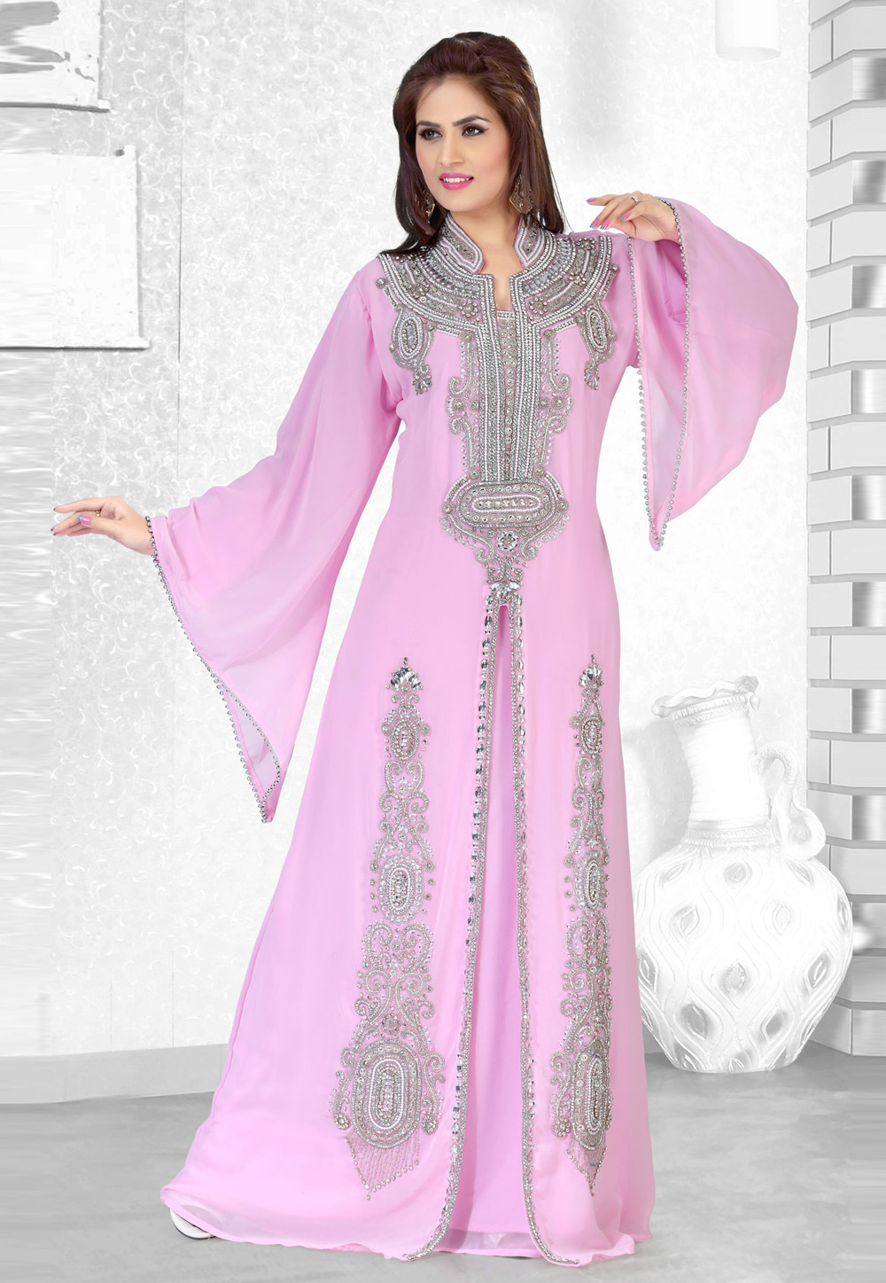 Pink Faux Georgette Embroidered Readymade Kaftan 194503