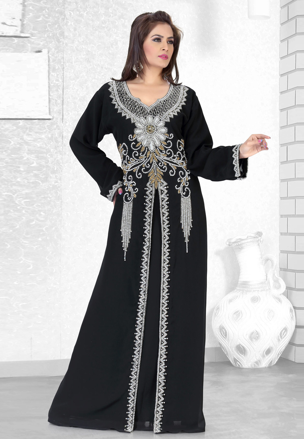 Black Faux Georgette Embroidered Readymade Kaftan 194504