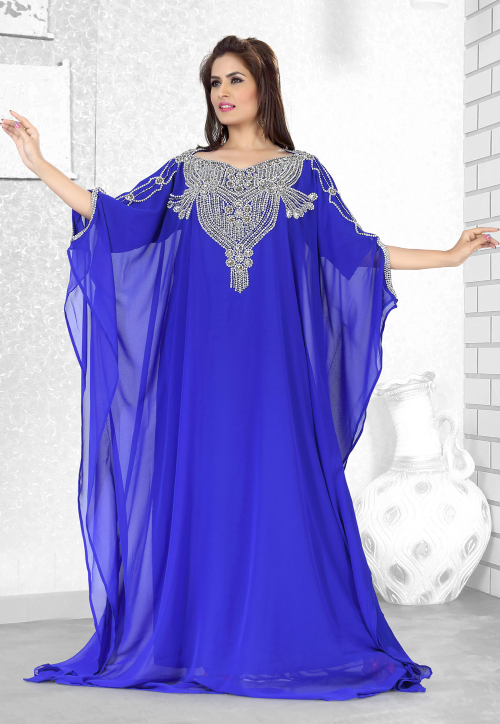 Blue Faux Georgette Embroidered Readymade Farasha 194507