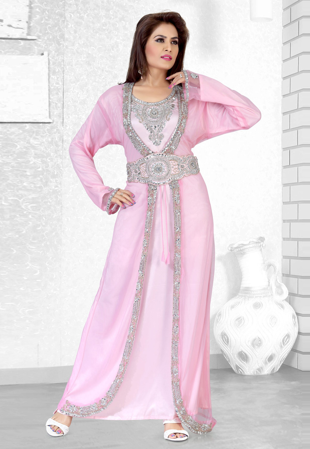 Pink Faux Georgette Embroidered Readymade Moroccan Kaftan 194508