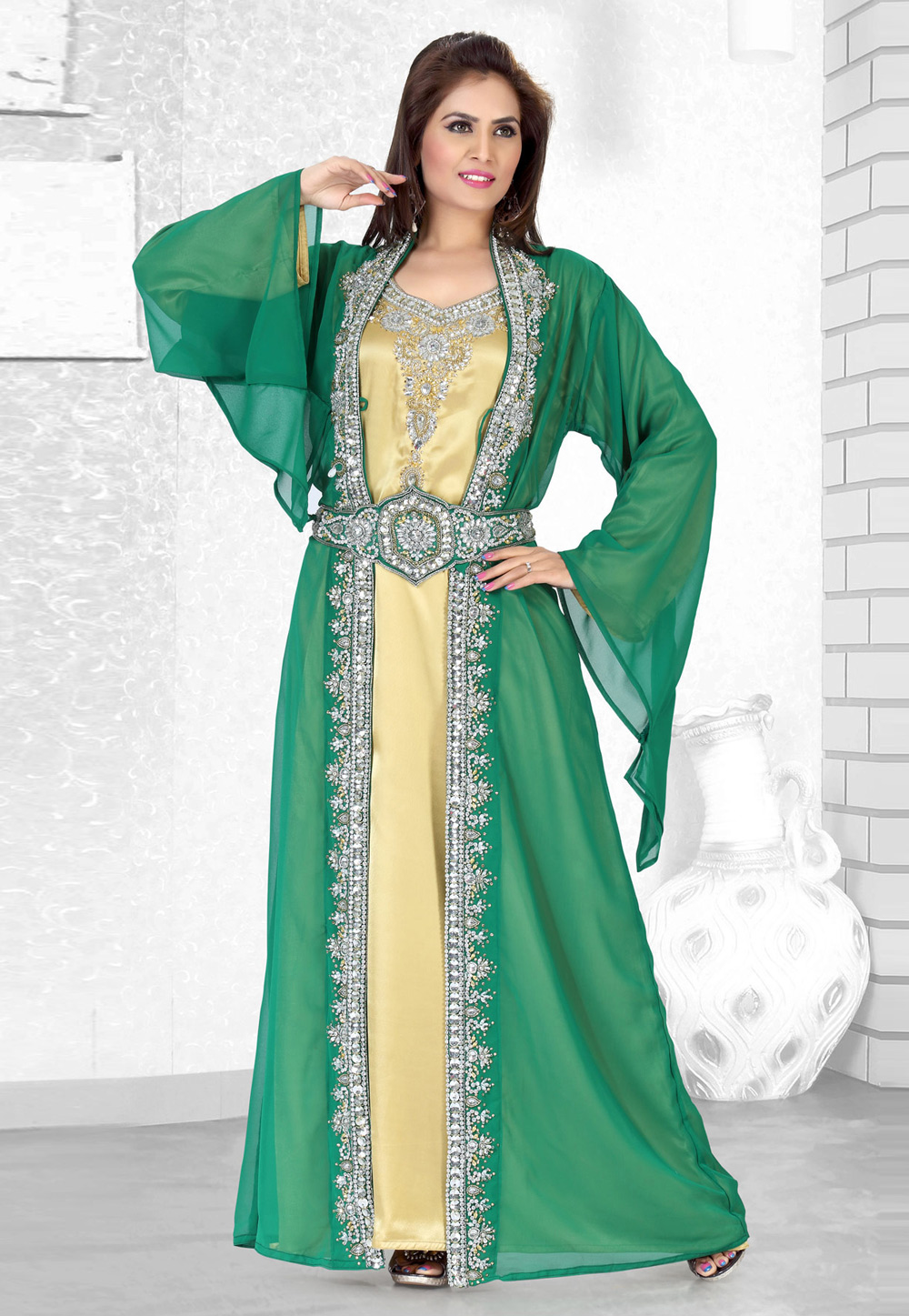 Green Faux Georgette Embroidered Readymade Moroccan Kaftan 194509